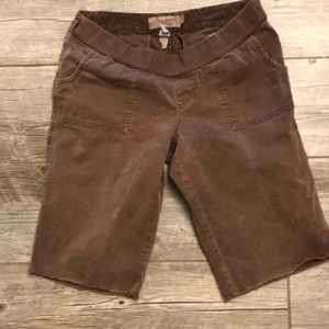 Brown maternity shorts